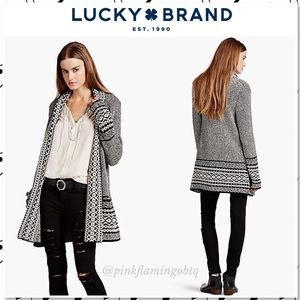 Lucky Brand Bordered Shawl Collar Duster Cardigan